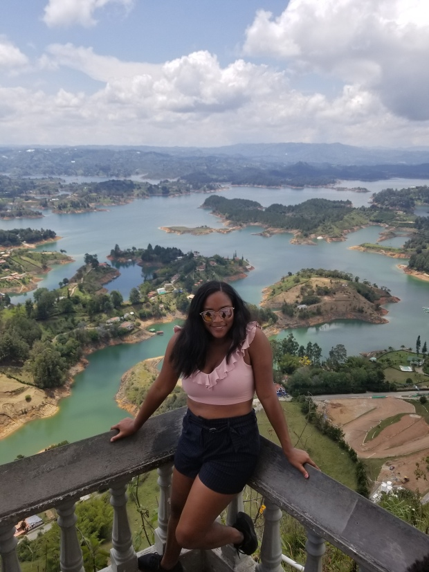 A view from the top of El Penol in Guatape, Colombia.