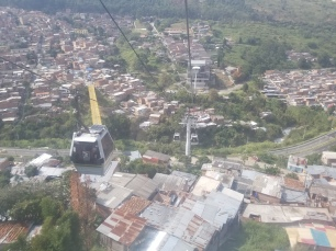 Aerial View of Medellin Colombia from Cable cars