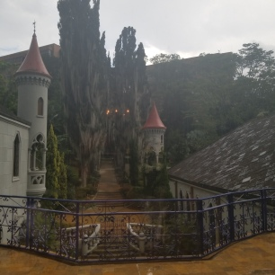 View of Museo el Castillo on a rainy day. Medellin Colombia